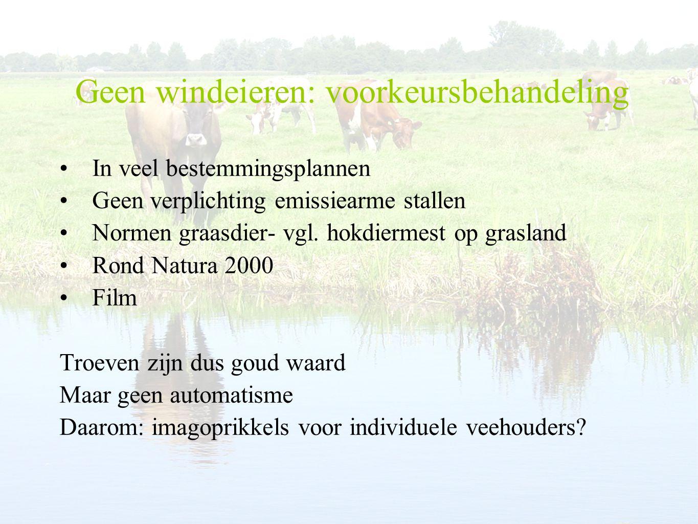 Geen windeieren: voorkeursbehandeling In veel bestemmingsplannen Geen verplichting emissiearme stallen Normen graasdier- vgl.