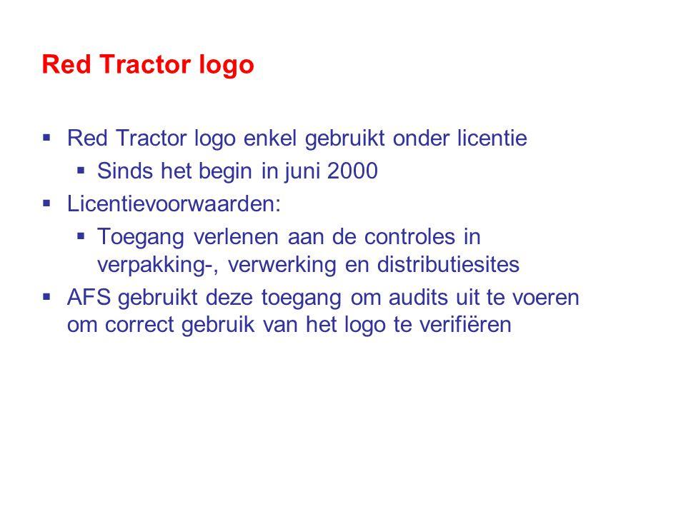 Red Tractor logo  Red Tractor logo enkel gebruikt onder licentie  Sinds het begin in juni 2000  Licentievoorwaarden:  Toegang verlenen aan de controles in verpakking-, verwerking en distributiesites  AFS gebruikt deze toegang om audits uit te voeren om correct gebruik van het logo te verifiëren