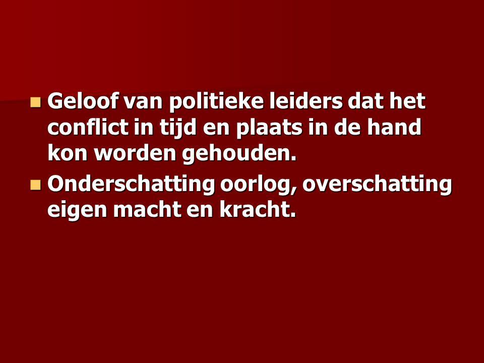 Geloof van politieke leiders dat het conflict in tijd en plaats in de hand kon worden gehouden. Geloof van politieke leiders dat het conflict in tijd