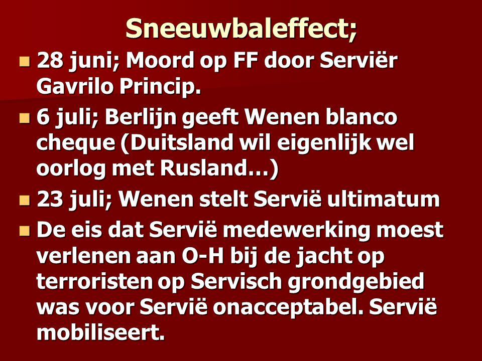 Sneeuwbaleffect; 28 juni; Moord op FF door Serviër Gavrilo Princip. 28 juni; Moord op FF door Serviër Gavrilo Princip. 6 juli; Berlijn geeft Wenen bla