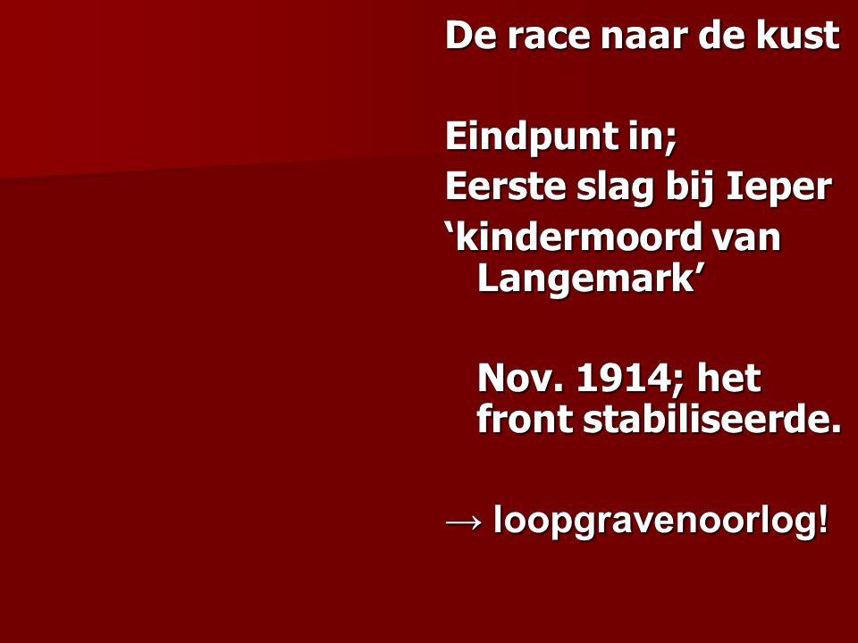 De race naar de kust Eindpunt in; Eerste slag bij Ieper 'kindermoord van Langemark' Nov. 1914; het front stabiliseerde. → loopgravenoorlog!