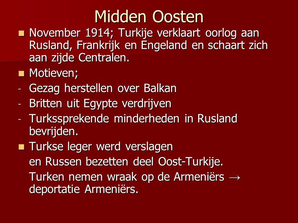 Midden Oosten November 1914; Turkije verklaart oorlog aan Rusland, Frankrijk en Engeland en schaart zich aan zijde Centralen. November 1914; Turkije v