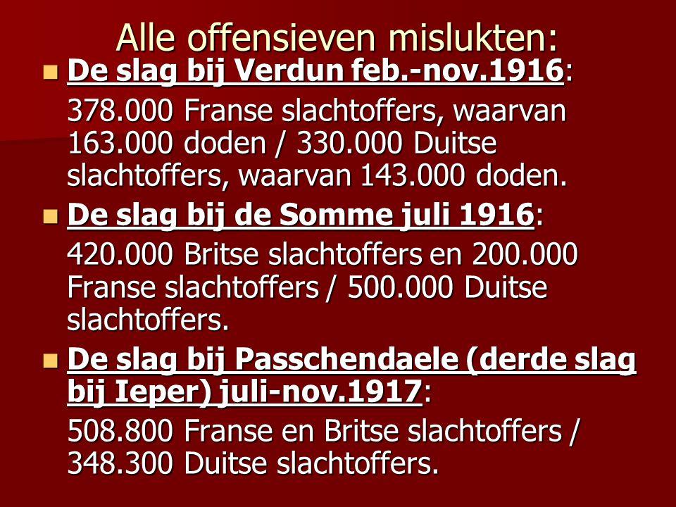 Alle offensieven mislukten: De slag bij Verdun feb.-nov.1916: De slag bij Verdun feb.-nov.1916: 378.000 Franse slachtoffers, waarvan 163.000 doden / 3