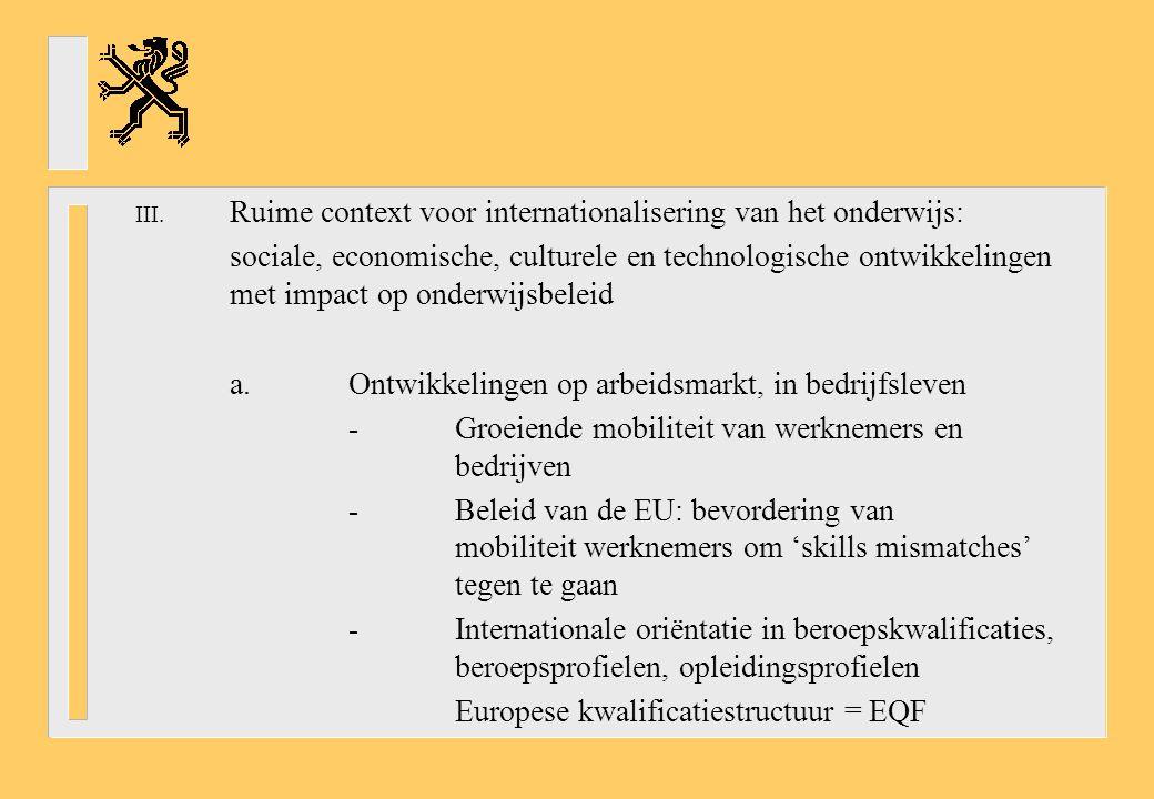 III. Ruime context voor internationalisering van het onderwijs: sociale, economische, culturele en technologische ontwikkelingen met impact op onderwi