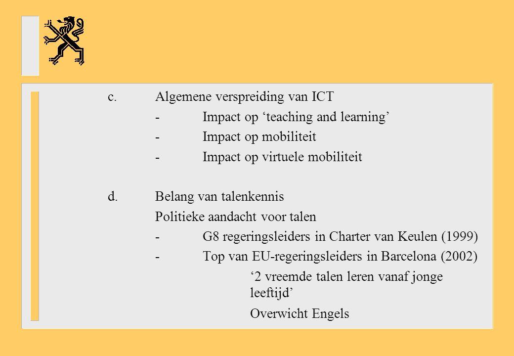 c.Algemene verspreiding van ICT -Impact op 'teaching and learning' -Impact op mobiliteit -Impact op virtuele mobiliteit d.Belang van talenkennis Politieke aandacht voor talen -G8 regeringsleiders in Charter van Keulen (1999) -Top van EU-regeringsleiders in Barcelona (2002) '2 vreemde talen leren vanaf jonge leeftijd' Overwicht Engels