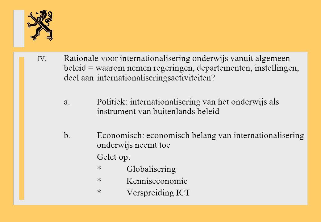 IV. Rationale voor internationalisering onderwijs vanuit algemeen beleid = waarom nemen regeringen, departementen, instellingen, deel aan internationa