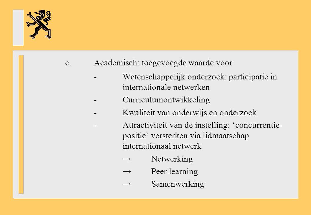 c.Academisch: toegevoegde waarde voor -Wetenschappelijk onderzoek: participatie in internationale netwerken -Curriculumontwikkeling -Kwaliteit van onderwijs en onderzoek -Attractiviteit van de instelling: 'concurrentie- positie' versterken via lidmaatschap internationaal netwerk →Netwerking →Peer learning →Samenwerking