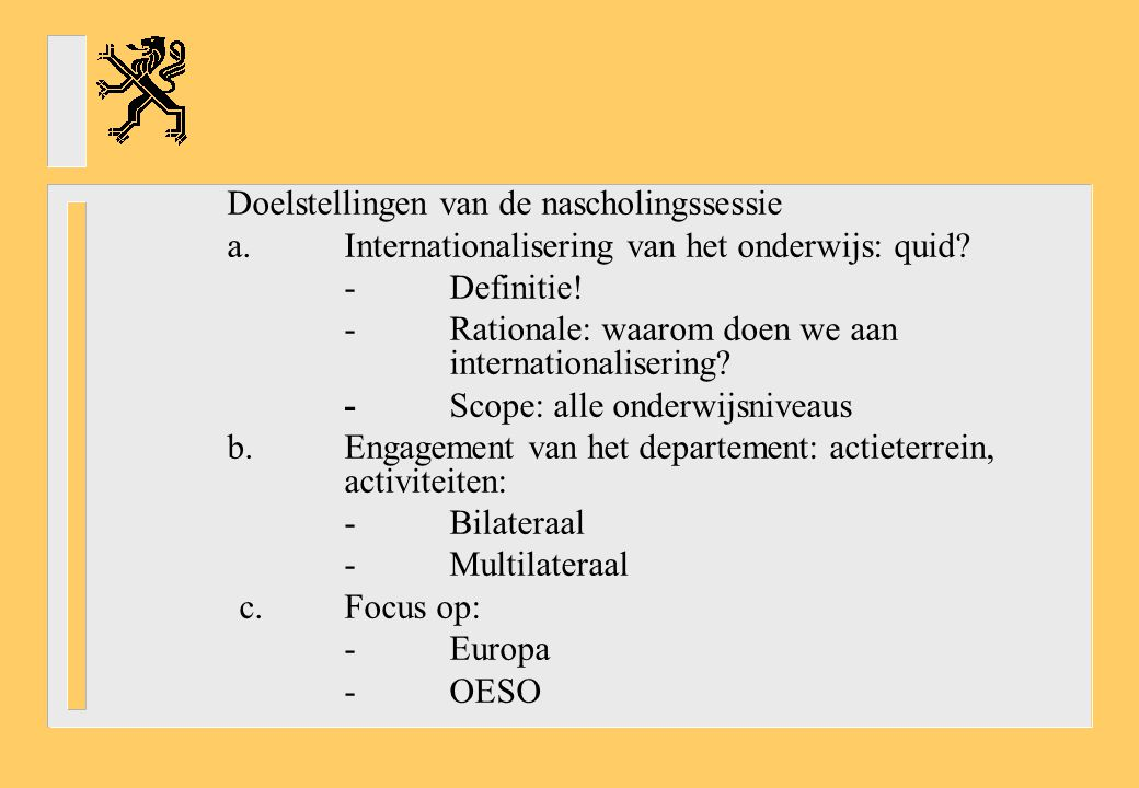 →Evaluating and improving outcomes of education (Programme for International Student Assessment) *PISA *EaG: Education at a Glance →Promoting quality teaching *Restructuring teachers' work and careers *Developing indicators on teaching and learning TALIS: Teaching and Learning International Survey