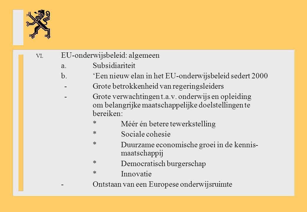 VI. EU-onderwijsbeleid: algemeen a.Subsidiariteit b.'Een nieuw elan in het EU-onderwijsbeleid sedert 2000 -Grote betrokkenheid van regeringsleiders -G