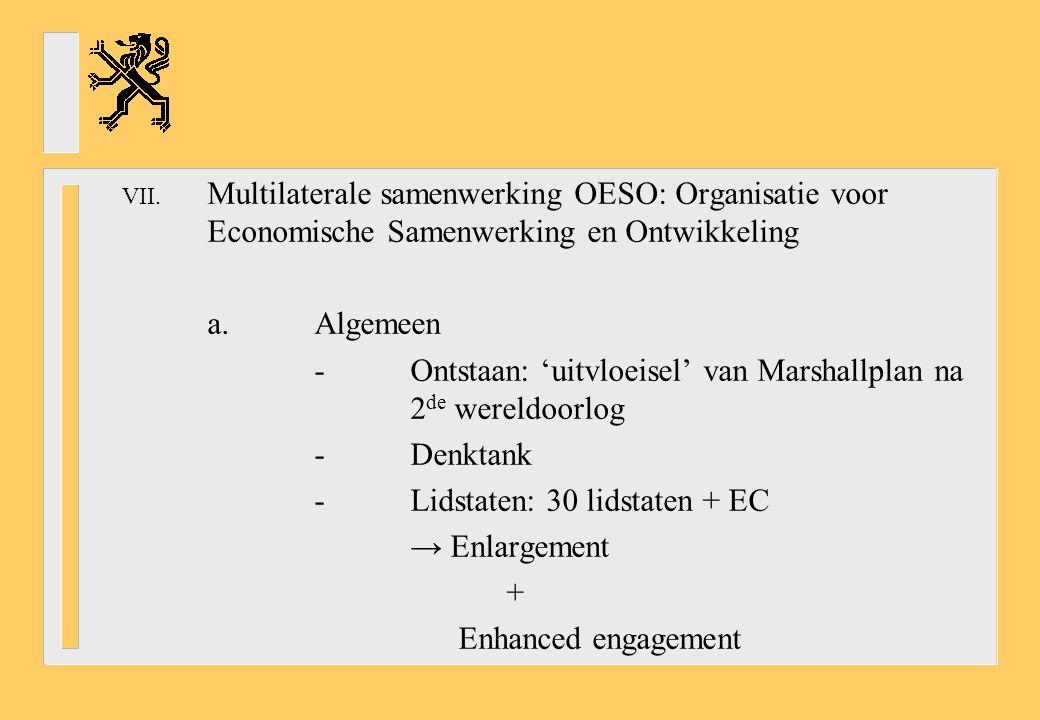 VII. Multilaterale samenwerking OESO: Organisatie voor Economische Samenwerking en Ontwikkeling a.Algemeen -Ontstaan: 'uitvloeisel' van Marshallplan n