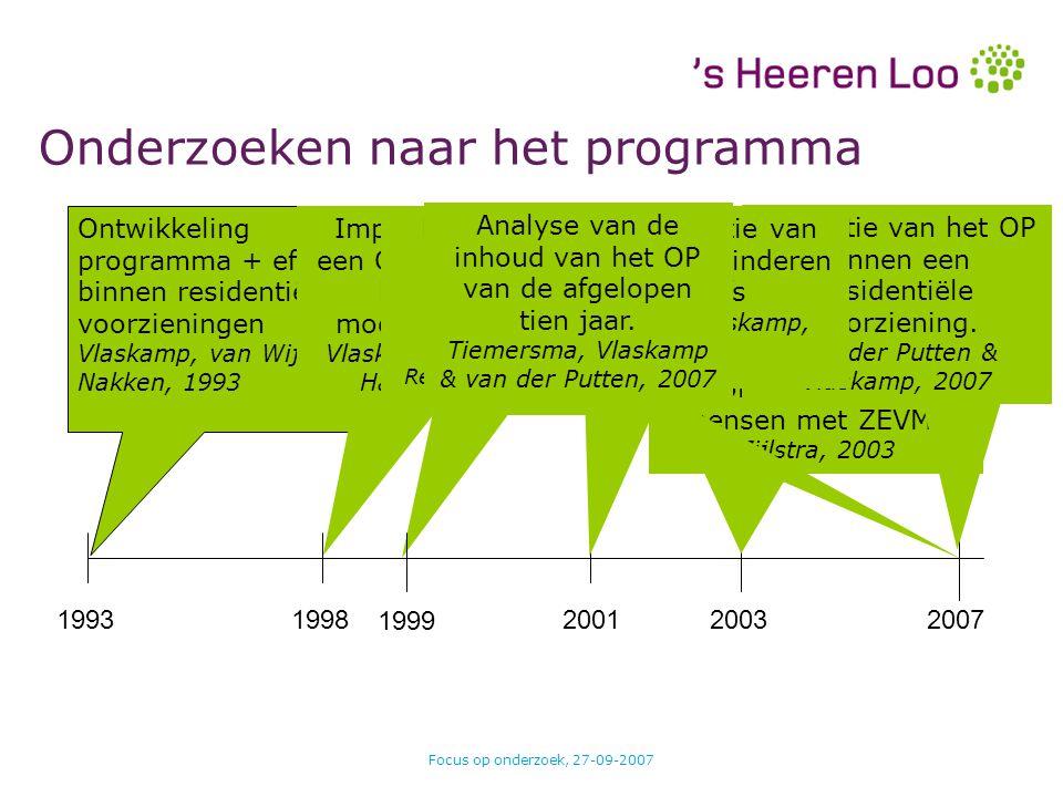 Focus op onderzoek, 27-09-2007 Ontwikkeling programma + effecten binnen residentiële voorzieningen Vlaskamp, van Wijck & Nakken, 1993 Onderzoeken naar