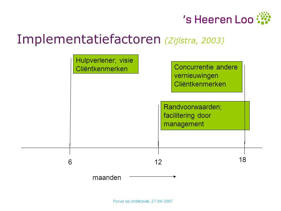Focus op onderzoek, 27-09-2007 Implementatiefactoren (Zijlstra, 2003) maanden 612 18 Hulpverlener; visie Cliëntkenmerken Randvoorwaarden; facilitering