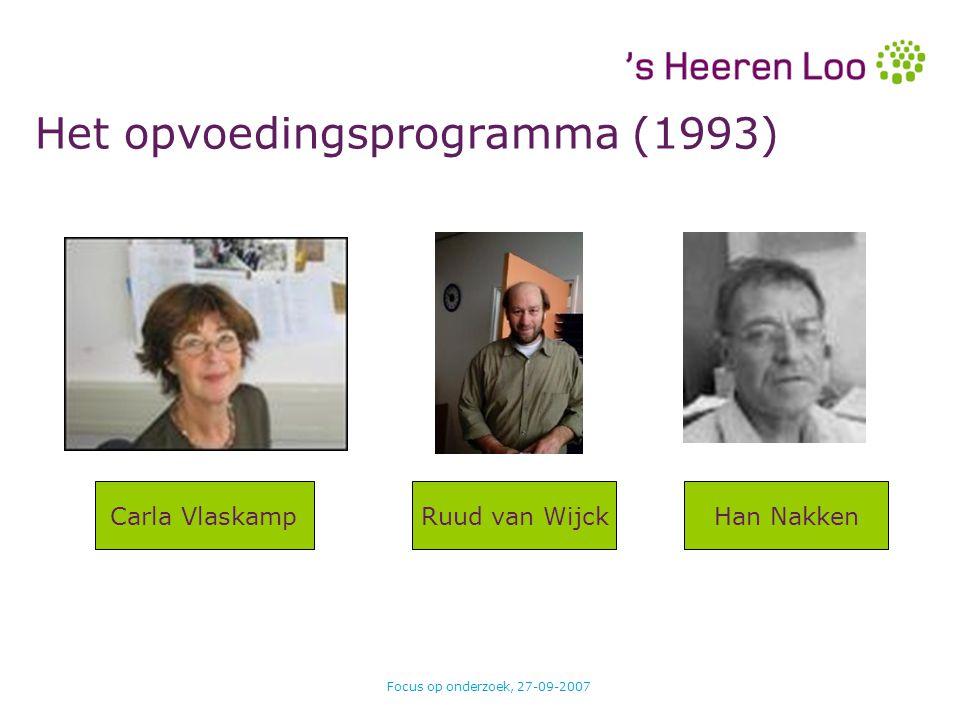 Focus op onderzoek, 27-09-2007 PersoonsbeeldPerspectief Hoofddoel Werkdoel Activiteit Rapportage GAS Het opvoedingsprogramma
