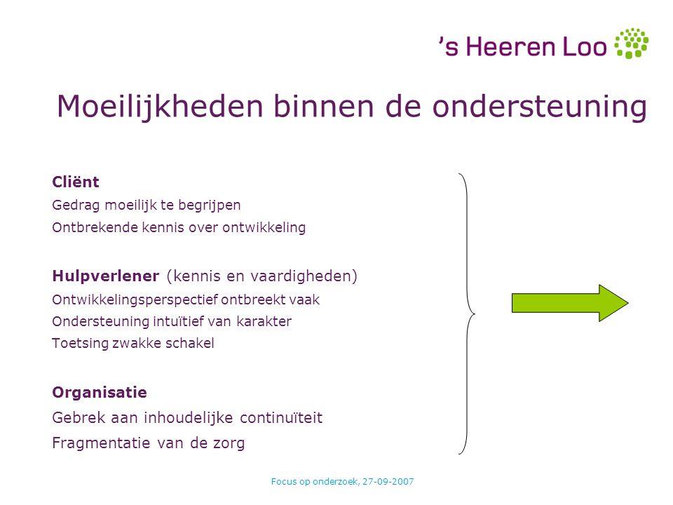 Focus op onderzoek, 27-09-2007 Moeilijkheden binnen de ondersteuning Cliënt Gedrag moeilijk te begrijpen Ontbrekende kennis over ontwikkeling Hulpverl
