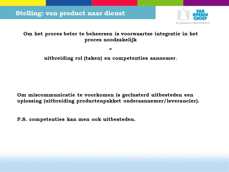 Stelling: van product naar dienst Om het proces beter te beheersen is voorwaartse integratie in het proces noodzakelijk = uitbreiding rol (taken) en competenties aannemer.