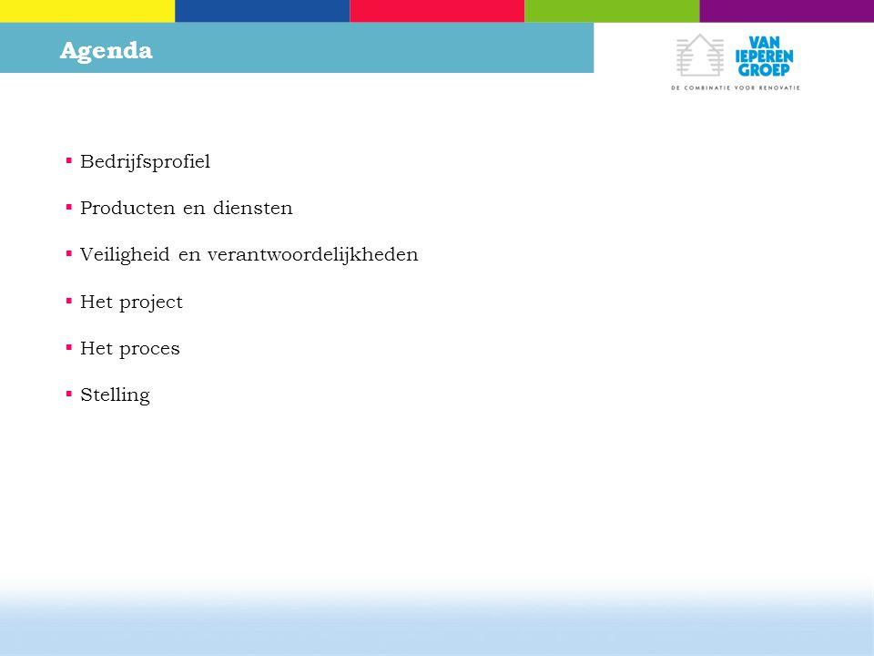 Agenda  Bedrijfsprofiel  Producten en diensten  Veiligheid en verantwoordelijkheden  Het project  Het proces  Stelling