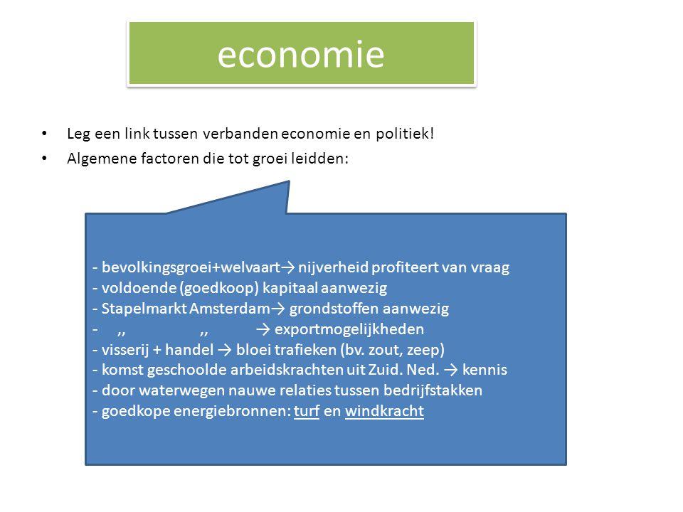 economie Leg een link tussen verbanden economie en politiek! Algemene factoren die tot groei leidden: - bevolkingsgroei+welvaart→ nijverheid profiteer
