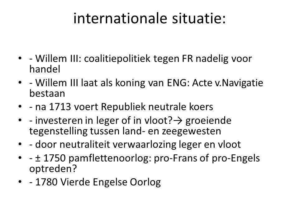 internationale situatie: - Willem III: coalitiepolitiek tegen FR nadelig voor handel - Willem III laat als koning van ENG: Acte v.Navigatie bestaan -