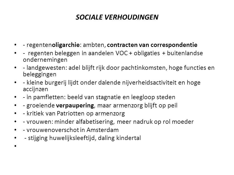 SOCIALE VERHOUDINGEN - regentenoligarchie: ambten, contracten van correspondentie - regenten beleggen in aandelen VOC + obligaties + buitenlandse onde