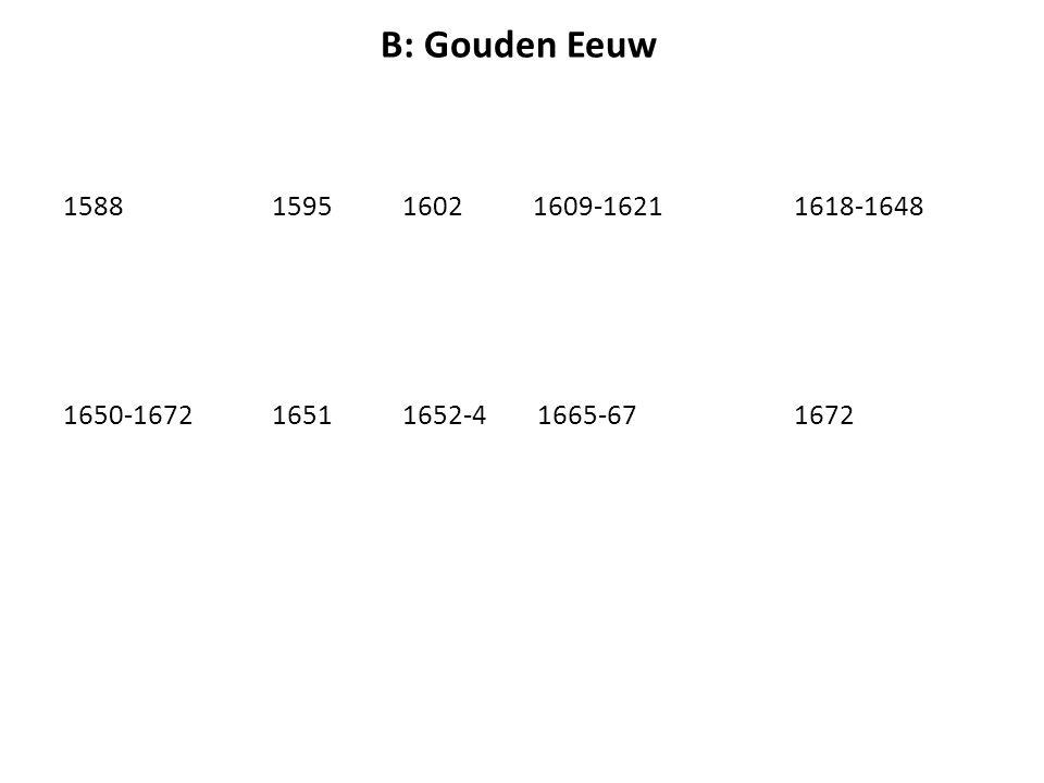 B: Gouden Eeuw 15881595 1602 1609-1621 1618-1648 1650-16721651 1652-4 1665-671672