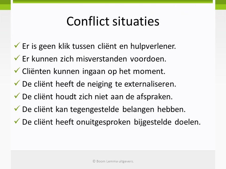 Conflict situaties Er is geen klik tussen cliënt en hulpverlener. Er kunnen zich misverstanden voordoen. Cliënten kunnen ingaan op het moment. De clië