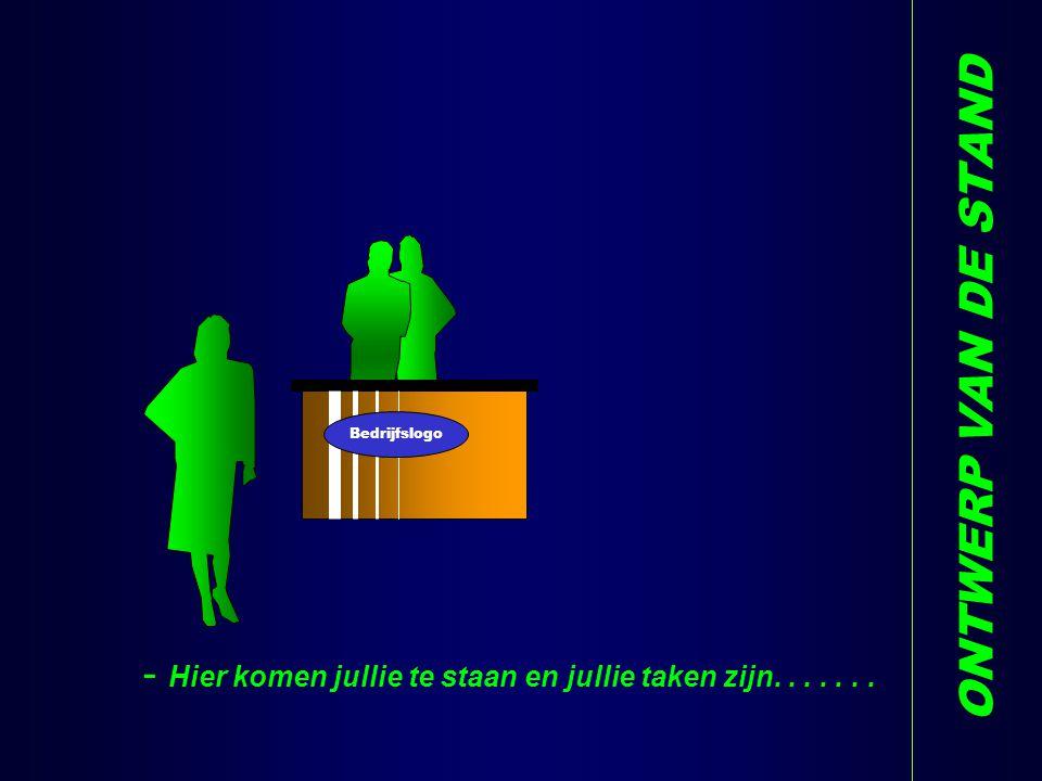 ONTWERP VAN DE STAND - Hier komen jullie te staan en jullie taken zijn....... V Bedrijfslogo