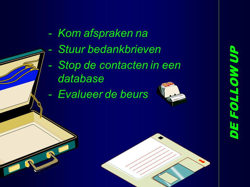 DE FOLLOW UP -Kom afspraken na -Stuur bedankbrieven -Stop de contacten in een database -Evalueer de beurs Y