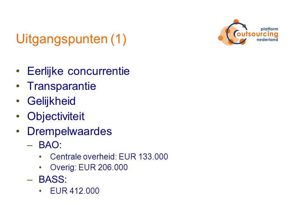 Uitgangspunten (1) Eerlijke concurrentie Transparantie Gelijkheid Objectiviteit Drempelwaardes –BAO: Centrale overheid: EUR 133.000 Overig: EUR 206.000 –BASS: EUR 412.000