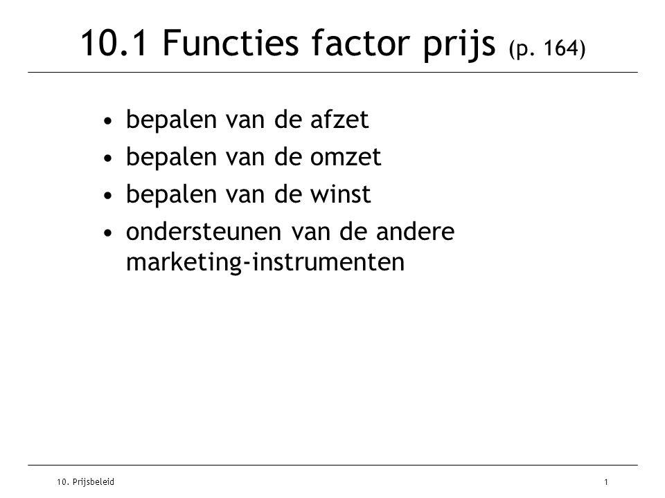 10. Prijsbeleid1 10.1 Functies factor prijs (p. 164) bepalen van de afzet bepalen van de omzet bepalen van de winst ondersteunen van de andere marketi