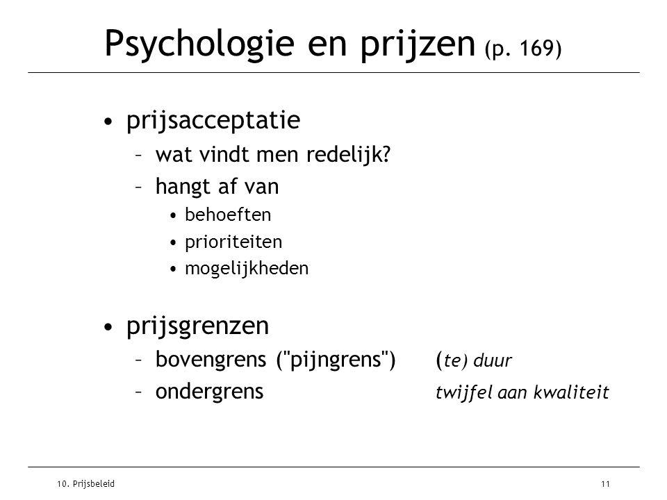 10. Prijsbeleid11 Psychologie en prijzen (p. 169) prijsacceptatie –wat vindt men redelijk? –hangt af van behoeften prioriteiten mogelijkheden prijsgre