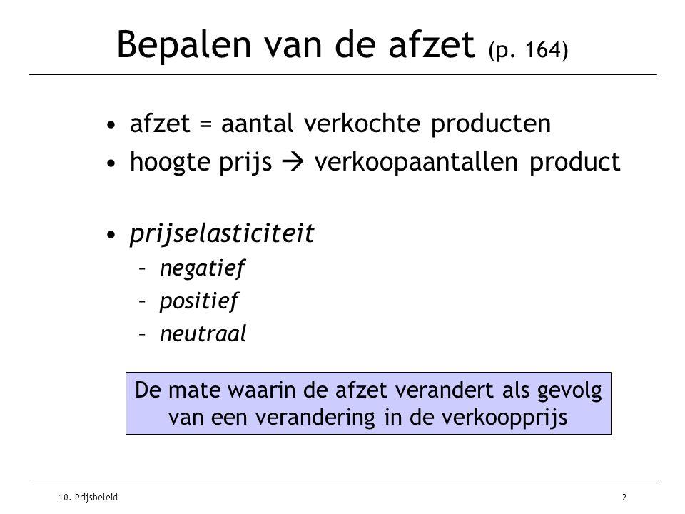 10. Prijsbeleid2 Bepalen van de afzet (p. 164) afzet = aantal verkochte producten hoogte prijs  verkoopaantallen product prijselasticiteit –negatief