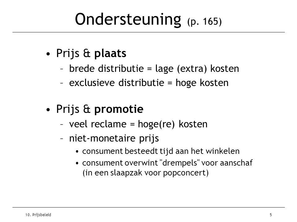 10. Prijsbeleid5 Ondersteuning (p. 165) Prijs & plaats –brede distributie = lage (extra) kosten –exclusieve distributie = hoge kosten Prijs & promotie