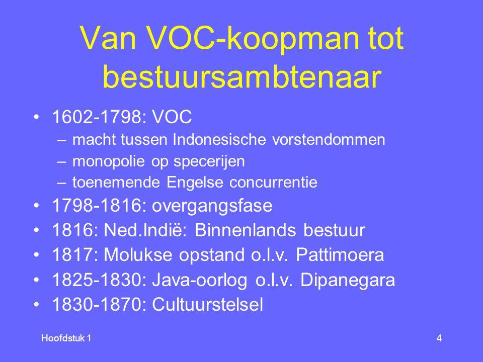 Hoofdstuk 14 Van VOC-koopman tot bestuursambtenaar 1602-1798: VOC –macht tussen Indonesische vorstendommen –monopolie op specerijen –toenemende Engelse concurrentie 1798-1816: overgangsfase 1816: Ned.Indië: Binnenlands bestuur 1817: Molukse opstand o.l.v.