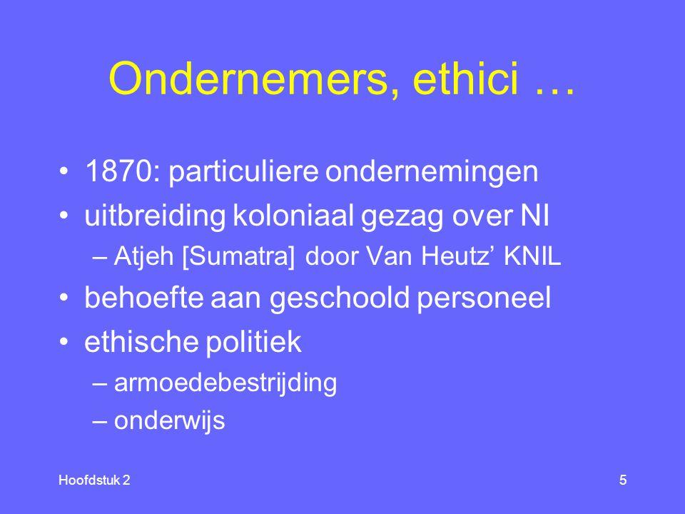 Hoofdstuk 25 Ondernemers, ethici … 1870: particuliere ondernemingen uitbreiding koloniaal gezag over NI –Atjeh [Sumatra] door Van Heutz' KNIL behoefte aan geschoold personeel ethische politiek –armoedebestrijding –onderwijs