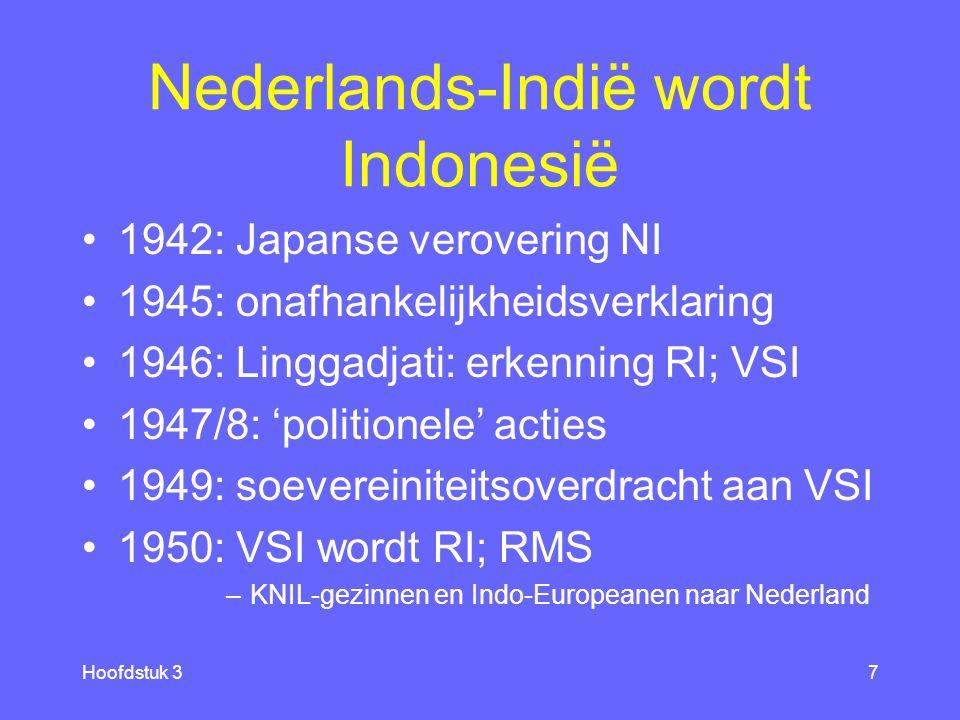 Hoofdstuk 37 Nederlands-Indië wordt Indonesië 1942: Japanse verovering NI 1945: onafhankelijkheidsverklaring 1946: Linggadjati: erkenning RI; VSI 1947/8: 'politionele' acties 1949: soevereiniteitsoverdracht aan VSI 1950: VSI wordt RI; RMS –KNIL-gezinnen en Indo-Europeanen naar Nederland