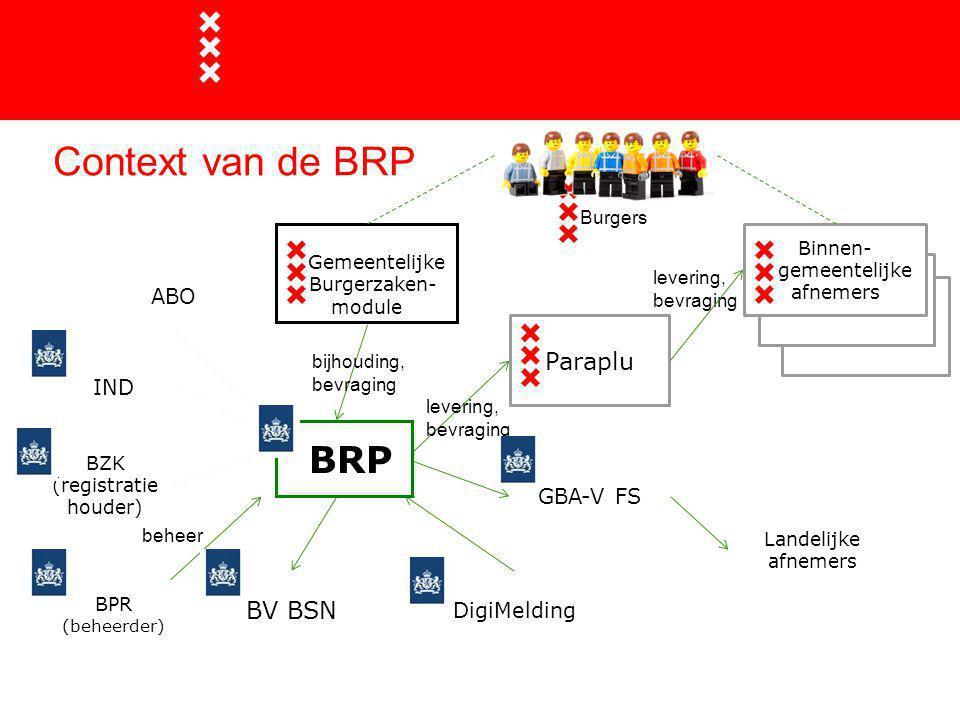 Context van de BRP 13 BRP Gemeentelijke Burgerzaken- module BV BSN BAG Binnen- gemeentelijke afnemers DigiMelding Paraplu levering, bevraging ABO BZK