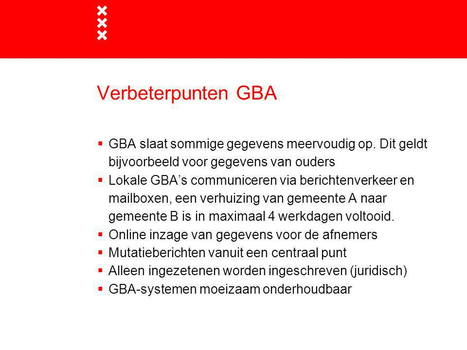 Verbeterpunten GBA  GBA slaat sommige gegevens meervoudig op. Dit geldt bijvoorbeeld voor gegevens van ouders  Lokale GBA's communiceren via bericht