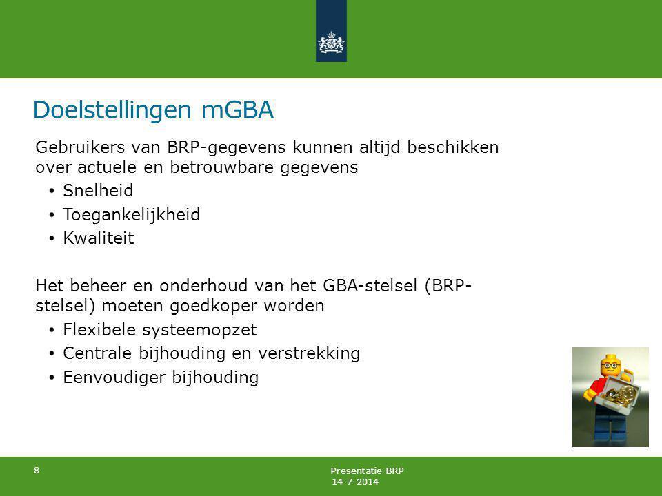 Presentatie BRP Doelstellingen mGBA De BRP ondersteunt gemeentelijke samenwerking en plaatsonafhankelijke dienstverlening De BRP past binnen de e-Overheid (stelsel van basisregistraties, Digi*.*) Bijhouding vindt plaats in een gecentraliseerde voorziening (tweede bestuurlijk akkoord) 9 14-7-2014