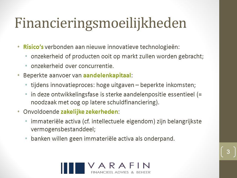 Financieringsmoeilijkheden Risico's verbonden aan nieuwe innovatieve technologieën: onzekerheid of producten ooit op markt zullen worden gebracht; onzekerheid over concurrentie.