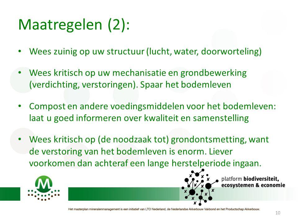 Maatregelen (2): Wees zuinig op uw structuur (lucht, water, doorworteling) Wees kritisch op uw mechanisatie en grondbewerking (verdichting, verstoring