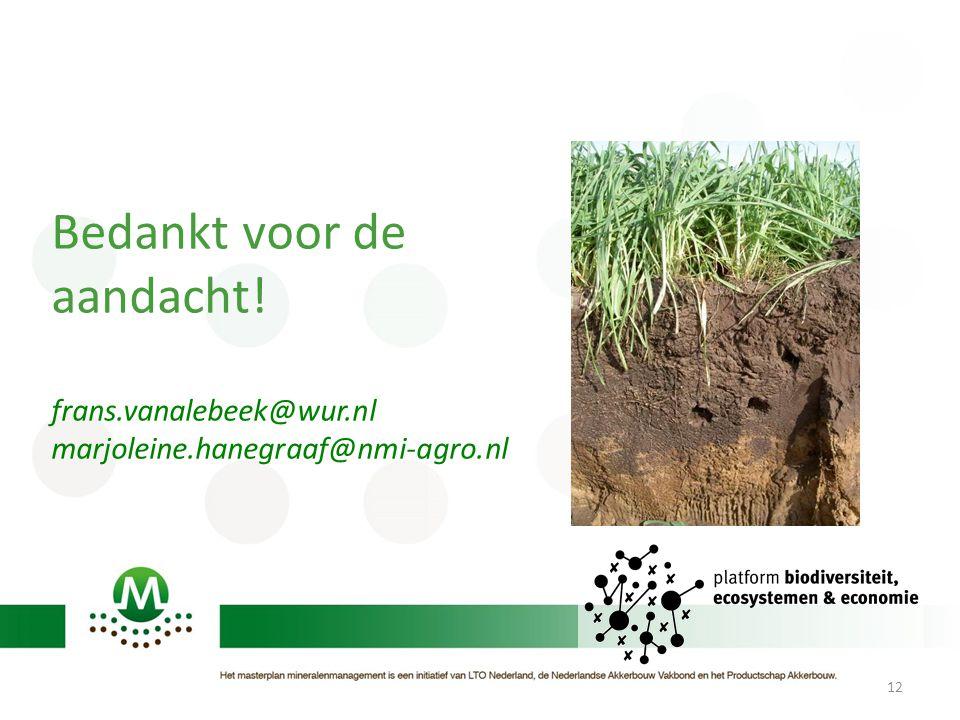 12 Bedankt voor de aandacht! frans.vanalebeek@wur.nl marjoleine.hanegraaf@nmi-agro.nl
