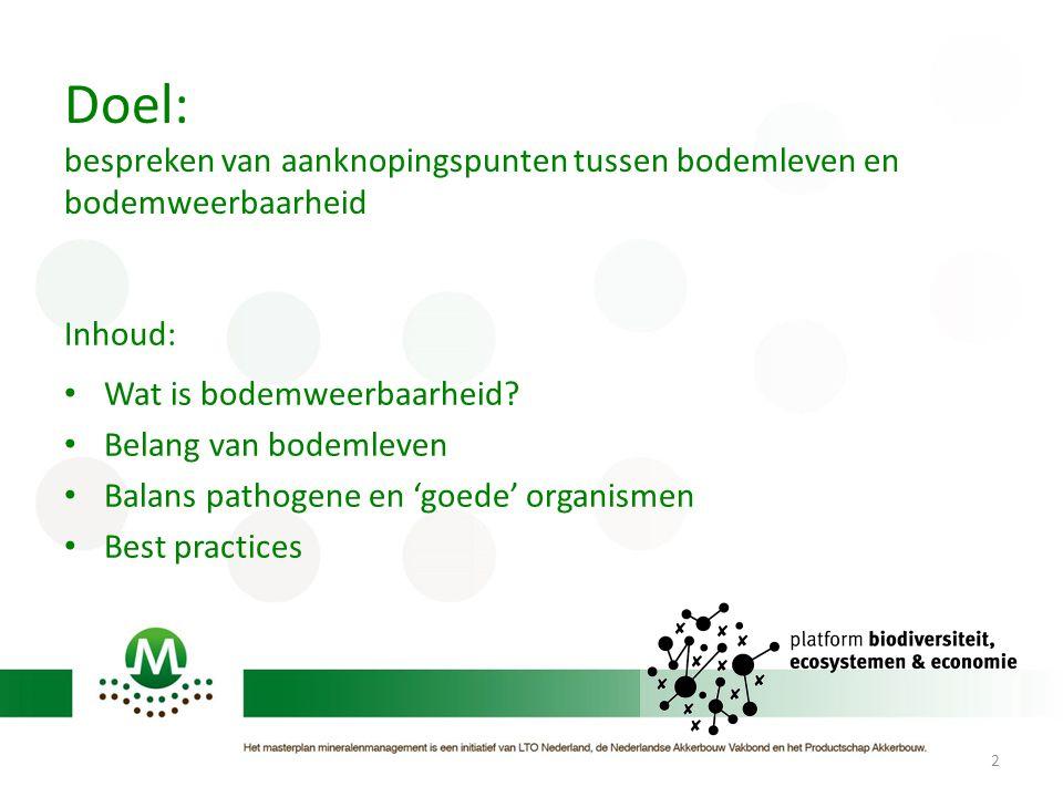 Doel: bespreken van aanknopingspunten tussen bodemleven en bodemweerbaarheid Inhoud: Wat is bodemweerbaarheid? Belang van bodemleven Balans pathogene