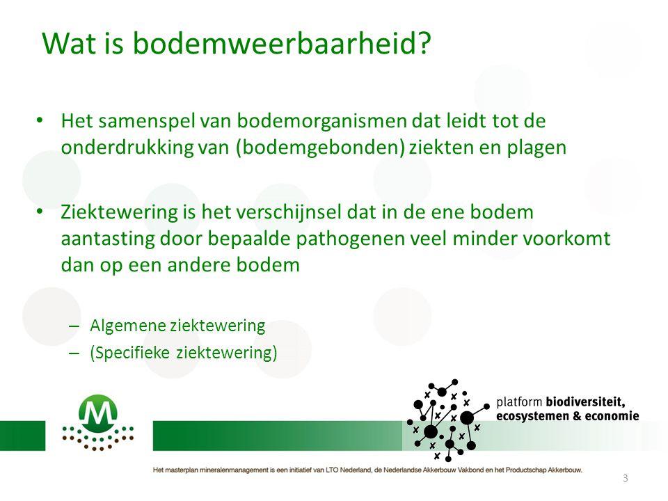 Wat is bodemweerbaarheid? Het samenspel van bodemorganismen dat leidt tot de onderdrukking van (bodemgebonden) ziekten en plagen Ziektewering is het v