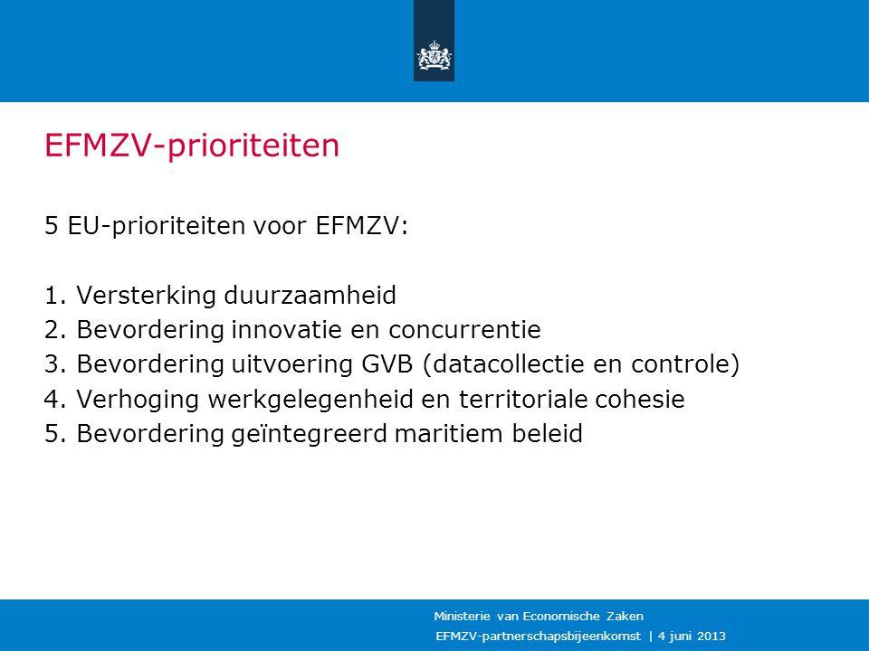 EFMZV-partnerschapsbijeenkomst | 4 juni 2013 Ministerie van Economische Zaken EFMZV-prioriteiten 5 EU-prioriteiten voor EFMZV: 1. Versterking duurzaam