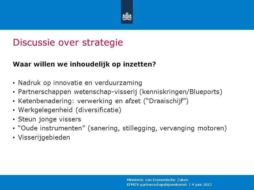 Discussie over strategie Waar willen we inhoudelijk op inzetten? Nadruk op innovatie en verduurzaming Partnerschappen wetenschap-visserij (kenniskring
