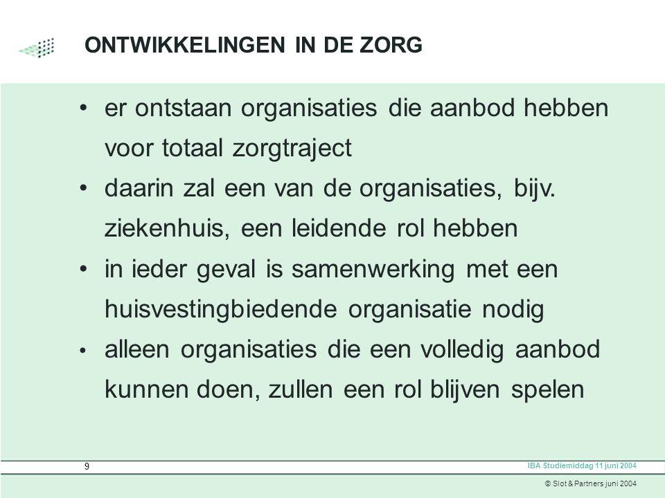 ONTWIKKELINGEN IN DE ZORG er ontstaan organisaties die aanbod hebben voor totaal zorgtraject daarin zal een van de organisaties, bijv.