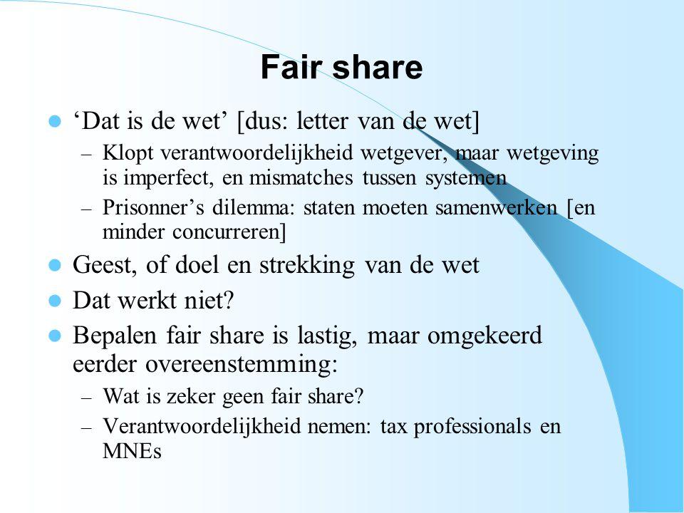 Fair share 'Dat is de wet' [dus: letter van de wet] – Klopt verantwoordelijkheid wetgever, maar wetgeving is imperfect, en mismatches tussen systemen