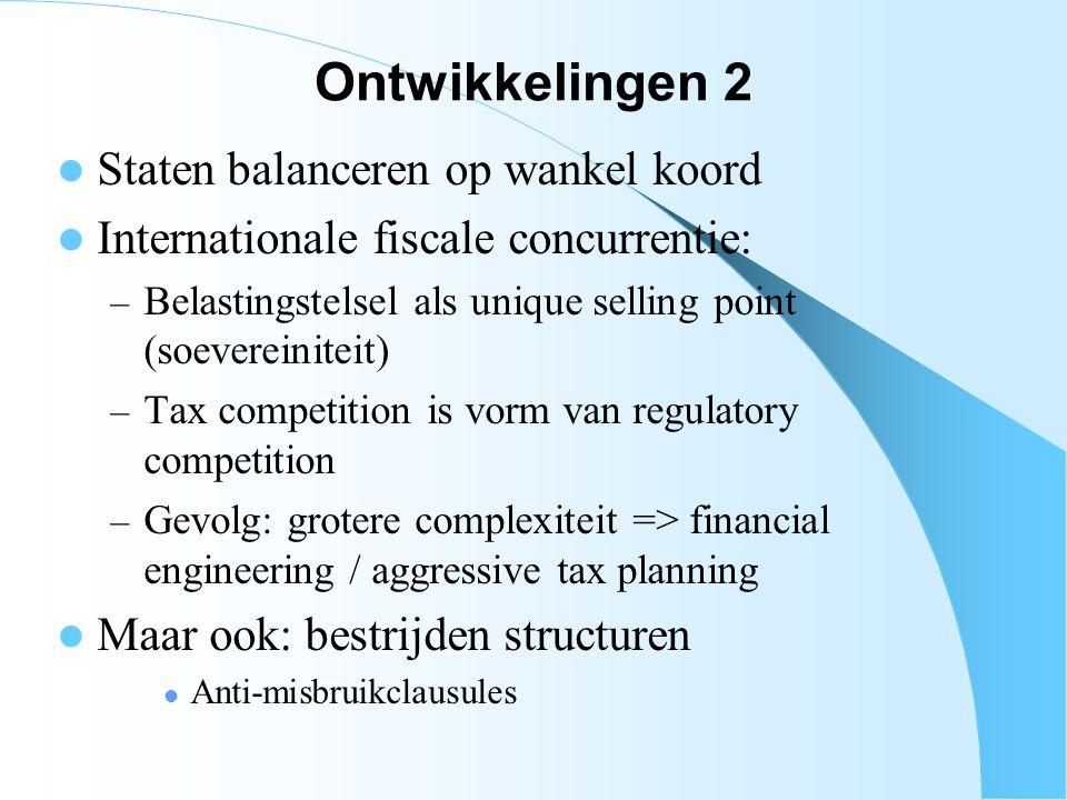 Ontwikkelingen 2 Staten balanceren op wankel koord Internationale fiscale concurrentie: – Belastingstelsel als unique selling point (soevereiniteit) –