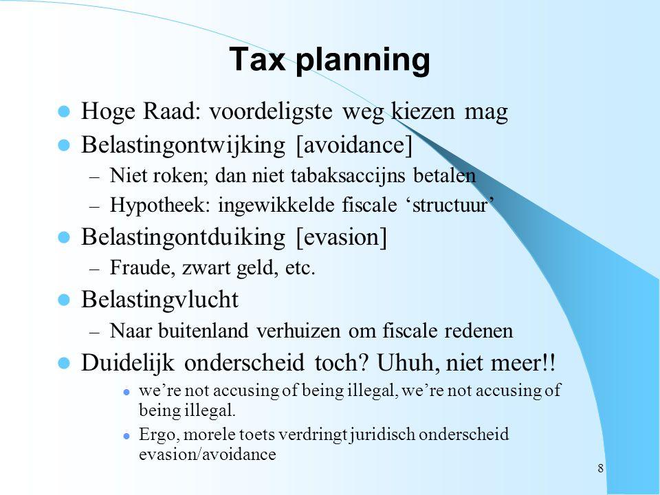 8 Tax planning Hoge Raad: voordeligste weg kiezen mag Belastingontwijking [avoidance] – Niet roken; dan niet tabaksaccijns betalen – Hypotheek: ingewi