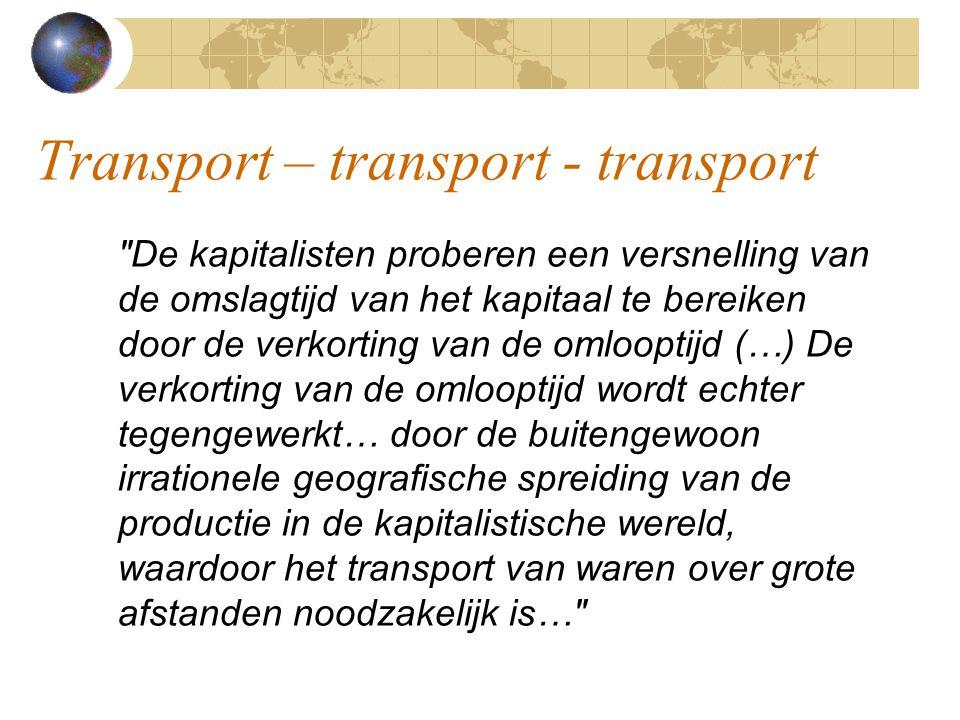 Transport – transport - transport De kapitalisten proberen een versnelling van de omslagtijd van het kapitaal te bereiken door de verkorting van de omlooptijd (…) De verkorting van de omlooptijd wordt echter tegengewerkt… door de buitengewoon irrationele geografische spreiding van de productie in de kapitalistische wereld, waardoor het transport van waren over grote afstanden noodzakelijk is…
